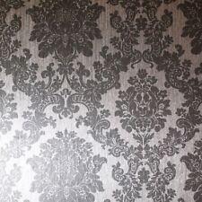 Arthouse Metallic Foil Damask Vinyl Wallpaper High Quality - 294401 Silver
