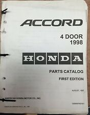 1998 Honda Accord 4 Door Parts Catalog 1st Edition