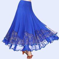Ladies Ballroom Skirt Modern Dance Wear Florals Dress Waltz Tango Latin Costume