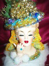 "Beautiful NAPCO JEWELED LADY HEAD VASE Christmas Gold ""ANGEL WINGS"" Headvase"