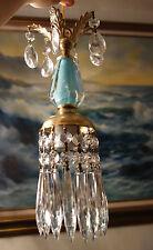 1of5 Vintage SWAG plug Icy Blue aqua Brass hanging lamp chandelier crystal prism