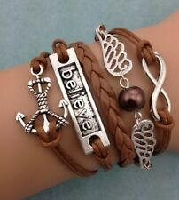Infinity Believe Wing Pearl Anchor Leather Charm Bracelet plated Silver DIY !!!!