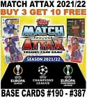 MATCH ATTAX 2021/22 21/22 CHAMPIONS LEAGUE & EUROPA BASE CARDS - #190 - #387