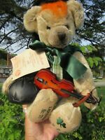 VINTAGE MOHAIR TEDDY BEAR HERMANN IRISH GERMANY TAG VIOLINE METAL BUTTON GROWLS