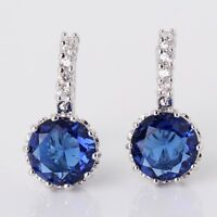 Desirable 18k white gold filled sapphire Antique twinkling leverback earring