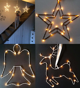 Christmas Battery Star Reindeer Angel Silhouette Light Warm White LED Metal Wire