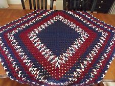 """Vintage Afghan GRANNY Crochet Quilt Throw Blanket 52""""x48"""" NICE square"""