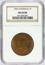 1943-I Australia 1 One Penny Bronze Coin - NGC MS 64 BN Graded - KM# 36