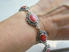 Marcasite Panelled Bracelet Silver Coral Style &