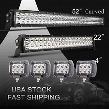 """52/54Inch LED Light Bar Combo + 20"""" 7D +4"""" CREE PODS OFFROAD SUV 4WD FORD JEEP"""