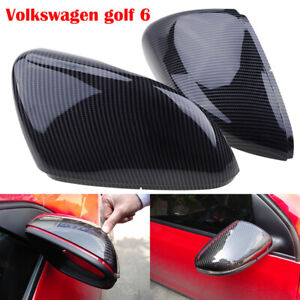 Carbon Fiber Pattern Side Door Mirror Cover Caps Fit 2010-2013 VW Golf / GTI MK6