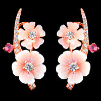 100% NATURAL PINK TOURMALINE & CZ MOP ROSE GOLD STERLING SILVER 925 EARRING