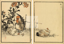 ANTIQUE Kono Bairei Japanese Art Print 1881 Cockerel, Hens, and Chicks #E20