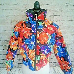 VTG Obermeyer Womens Coat Ski/Snow SMALL  Neon 1980's BOHO Floral Crop Kawaii
