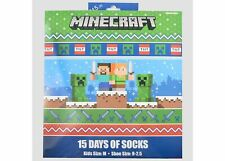 MINECRAFT 15 DAYS OF SOCKS Boys Medium (9-2.5) Kids Holiday Christmas