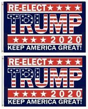 New listing Lot of 2 Re-elect Trump 2020 Keep America Great Flag 3' x 5' Campaign Banner