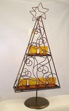 ✿ Kerzenleuchter Teelichthalter Tanne + 6 Teelichtgläser Orange Braun 54 cm