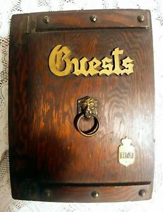 Vintage Wood Guest Book Log Wooden Cover & Back w/Lion Head in Center 1961~1972