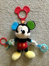 Disney Baby Mickey Mouse Hanging Activity Toy Plush Animal Rattle Teether