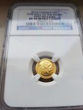 2012 – Twenty-Fifth oz. Gold Canadian Cent Proof – PF70 UC – NGC-Rare!