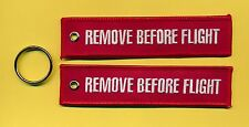 Remove Before Flight (both sides) embroidered Key Ring/Tag - New