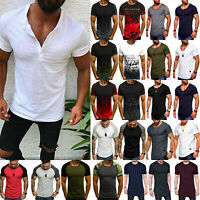 Mens Gym Summer Slim Fit Shirt Casual Short Sleeve Muscle Tee Top T-shirt Blouse