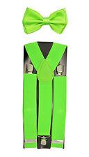 "35mm Wide Mens Adjustable Braces Matching ""Neon Green"" Suspender & Bow tie Set"