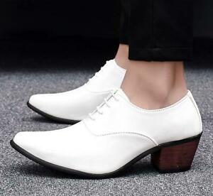 Men's lace up Business dress cuban Heel formal oxford Party patent leather shoes
