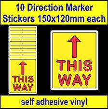 10 Social Distancing This Way Direction Arrow Stickers, 150mm vinyl floor decals