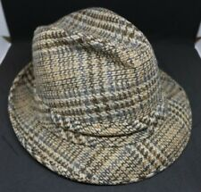 Vintage Resistol Fedora 1950s Plaid Size 7 Browns and Greys with red feather