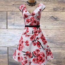 Unique Karen Millen Ivory Red Floral Print Skater Summer Cocktail Dress 10 UK