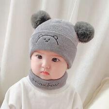 Newborn Baby Autumn Winter Hairball Bear Hats Warm Wool Hats Scarf Set New