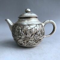 Chinese ancient Tibetan silver hand-carved landscape teapot wine pot flagon