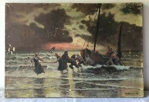 Antico quadro -Olio su tela -  Marina / primi '900 Firmato