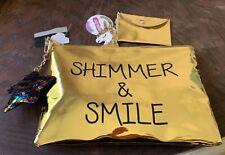 Shimmer & Smile Metallic Gold Zipper Bag Makeup Purse Unicorn Star Keychain Clip