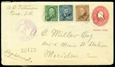 USA : Beautiful 3 color franking on 1899 Registered envelope. Scarce.