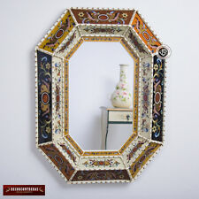 Peru Handpainted Glass Wood Decorative Wall Mirror - Arts Crafts Large Mirror