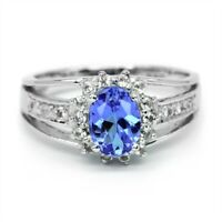 7x5mm Natural Lavender Blue Tanzanite Ring With Zircon in 925 Sterling Silver