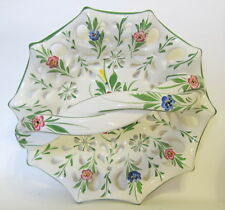 Portugal Pierced Floral Ceramic Basket Hand Painted 10 Inches Wide 882 RCCL