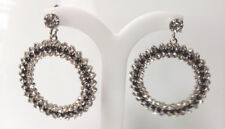 Formal/Bridal Round Black And White Crystal Dangle Drop Earring