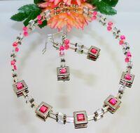 2er Schmuckset Kette Ohrrring Glas AB Perlen Würfel Acryl pink magenta rosa 135f