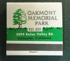 Matchbook - Oakmont Memorial Park Lafayette CA 30 Strike FULL