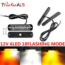 Car Truck Van 6 LED Flash Emergency Beacon Hazard Warning Strobe Light Bar Amber