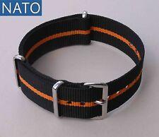 NATO 20mm noir-orange compatible Auricoste Breitling Dodane Eterna Enicar Seiko