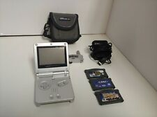 Nintendo gameboy advance sp ags-001 platinum silver oem charger games case