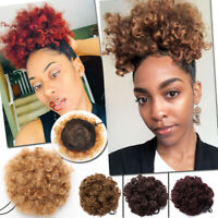 Ponytail puff Drawstring Wrap Synthetic Hair Jerry Curly Afro Bun Updo Chignon J