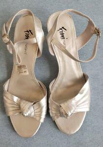 Fioni Night Women's silver knot sling back dressy high heel US size 10 buckle