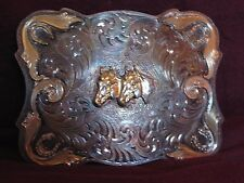 Vintage Montana Silversmiths Silver Gold Plate Two Horses Scrolled Rodeo Buckle