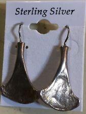 925 Sterling Silver Ginkgo Style Hook Drop Dangle Pierced Earrings By Gogo