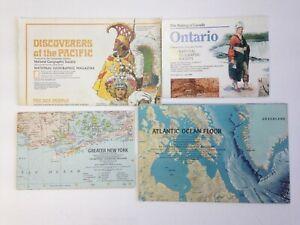 Lot of 4 Maps National Geographic Pacific Ontario New York Atlantic Ocean Floor